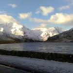Snowy scene at Ogwen lake, Snowdonia