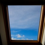 Gaze at the sky through the large skylight windows
